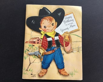 Vintage child's birthday greeting card, Little Cowboy, Stand-up toy, by Fairfield