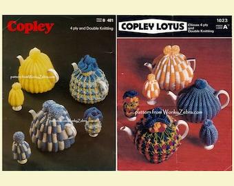 Vintage Knit Tea Cosies Egg Cosies Cosy Cozy Patterns Pattern PDF 903 from WonkyZebra