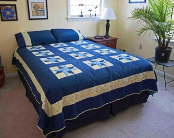 Blue and Yellow Queen Bed Quilt