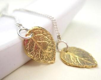 Gold Leaf Threader Earrings Small Leaf Earrings Sterling Silver Chain
