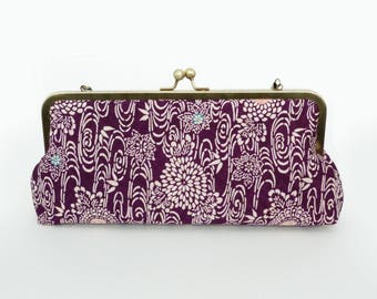Clutch bag, kimono fabric, purple and white decorative vintage kimono fabric, evening purse