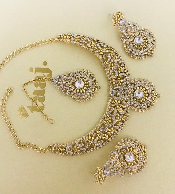 Shelley Gold diamanté necklace earrings tikka set , indian Pakistani wedding party jewellery