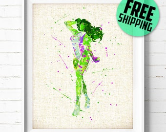 FREE SHIPPING- X-Men art print, She-Hulk, Marvel, Superhero, poster, watercolor, illustration, nursery, kids, gift, wall art, home decor 318