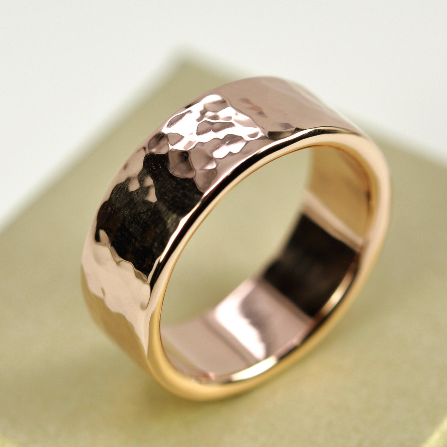 damascus ring inlay bands wedding hammered steel band and sleeve made pin with rose gold custom mens