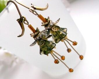 Botanical earrings botanical dangle Glass flower dangle bronze flower earrings floral earrings gift for girlfriend small flower dangle