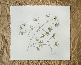 Hand Screen Printed Art Print // Finger Flowers