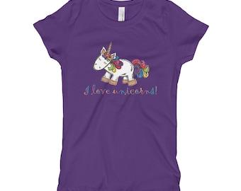 Girls unicorn shirt, Unicorn Girl's T shirt, Back to School, Unicorn clothes, Unicorn gift, Summer fashion for girls, Unicorn t shirt