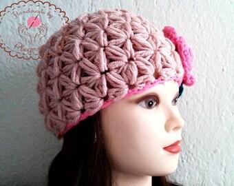 Woman Crochet Hat, Womens Crochet Beanie, Crochet Adult Hat, gift for her, gift for women, hat with flower, women hat, winter hat, girls hat