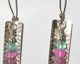 Sterling and Tourmaline Beads Dangle Earwires