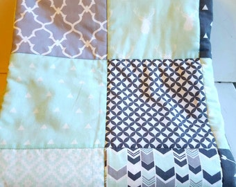 Gray and Mint Woodland Nursery Bedding, Tribal Baby Quilt in Mint and Gray, Modern Nursery Quilt, Woodland Baby Boy Quilt,  Gender Neutral