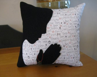 """Hand Stitched Wool Silhouette Applique Pillow """"Thankful"""""""