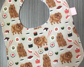 Pomeranian & Sushi Baby Bib