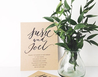 Brush calligraphy style wedding invitations and save the dates