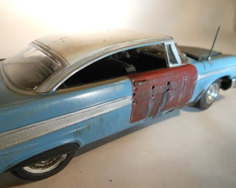 Scale Model Car,OOAK, Classicwrecks, Plymouth Blue ,Rusted Wreck,Rat Rod