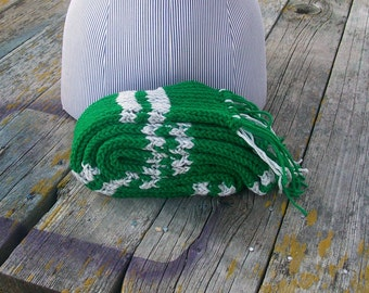 Knitted Green and Silver Striped Long Scarf Potter Ready to Ship