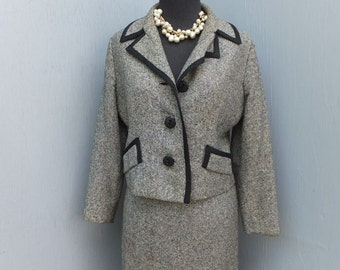 1960s Suit, Snyder Craft, Black and White Tweed, Checked, Business, Two Piece, Mad Men, Size 10