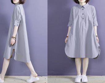 Women's Pleated Linen Shirt Dress/Mid Weight/Light Grey/ 17 Colors/ Any Size/RAMIES