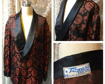 Very Handsome Brocade Mens Smoking Jacket Texas Tailor Saigon Viet Nam Shawl Collar Black Brown Asian Patterned 1960s Elegant Leisure Wear