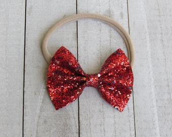 Restock (Rudolph red) glitter bow