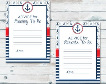 Nautical Baby Shower Advice Cards, Advice For Mom To Be, Nautical Advice For New Parents, Well Wishes For Mommy To Be, Nautical Baby Shower