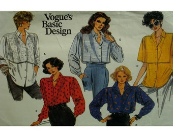 Loose Fitting Shirt Pattern, Shirt Tails, Yoke, Front/Back Overlay, Long/Short Sleeves, Collar, Cuffs, Vogue No. 1609 UNCUT Size 14 16 18