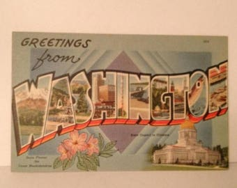 ON SALE Greetings From Washington State Old Vintage 1940's 1950's Souvenir Linen Postcard