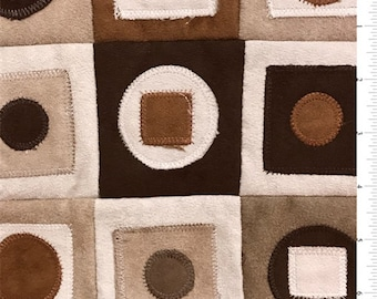 Circle/Square Patchwork Suede, Fabric By The Yard
