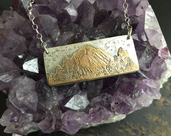Inspirational Jewelry Mountain Scene Great Outdoors Sterling and Bronze Pendant
