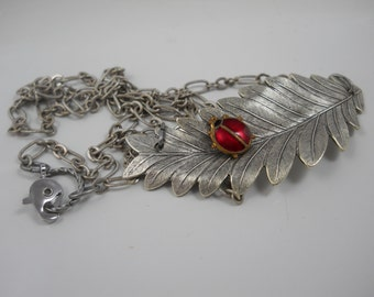 Necklace Silver Leaf with Ladybug Nature Jewelry Garden Outdoor Springtime Statement Necklace Leaves and Ladybugs
