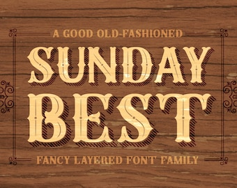 Sunday Best Complete Layered Font Family - Rustic Elegance - OpenType Font
