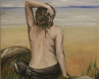 Girl on the beach Original acrylic painting on canvas. ready to hang, wall decor
