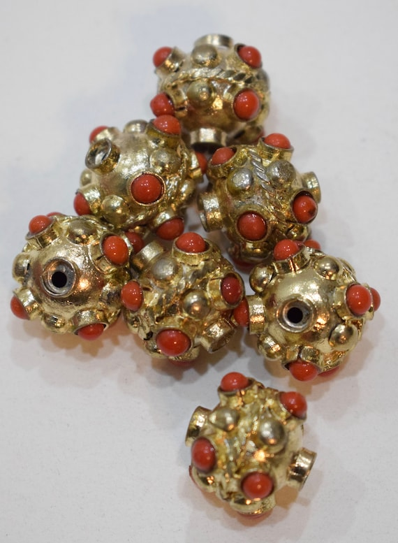 Beads India Brass Orange Glass Beaded Rondelles Vintage Beads 15mm