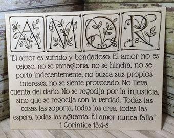 "8 1/2"" x 11"" Spanish Print ~ El Amor es sufrido y bondadosa -  1 Corinthians 13:4-8 Scripture ~ Wedding / Marriage / Engagement ~ Gold"