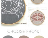 Crab embroidery kit, DIY embroidery, hand embroidery kit, modern embroidery pattern, natural linen, earth tones, DIY hoop art