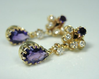 Victorian Revival Amethyst and Diamond Earrings KPL03L-P