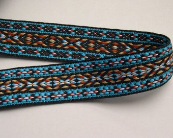 Ribbon BRAID ethnic patterned blue yellow brown black