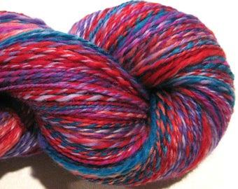 Handspun yarn, Playtime 440 yards, DK weight, red purple blue pink gold, 2 ply,  Superwash BFL wool, Nylon, sock yarn, knitting supplies