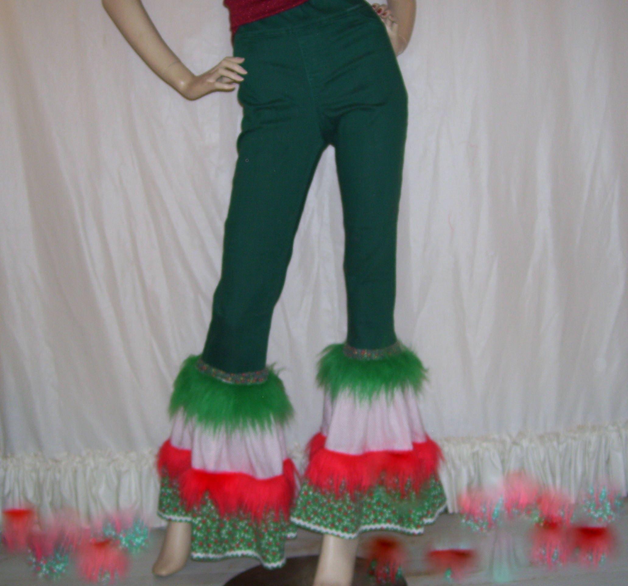 Weihnachten Bell Böden pelzigen Stretch Jeans Hose hässlichen