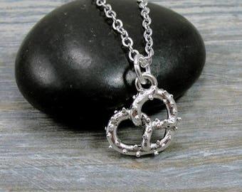 Pretzel Necklace, Silver Pretzel Charm on a Silver Cable Chain