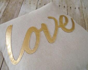 Love Pillow - Cover /  Gold pillow / metallic pillow / metallic gold pillow / Love Pillow / pillow with love / gold love pillow / gold love