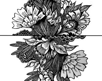 B & W Floral Print