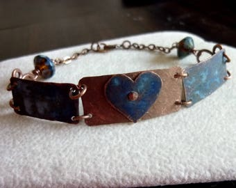 Antique Copper Heart and Rectangle with Denim Blue Patina Bracelet
