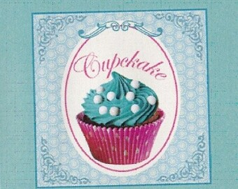 "CUP CAKE 3: coupon TWILL of cotton pattern ""cup cake"""