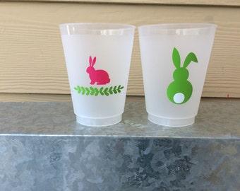 16 oz givré Flex incassable tasses ; Easter Bunny tasses (réutilisable)