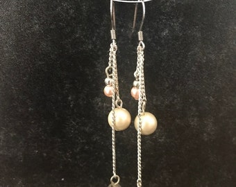 Silver and Pearl Dangling Earrings