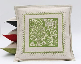 Green Linen Cushion Cover/Folk art/Screen Printed Pillow