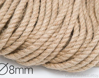 Jute rope 8mm Natural jute twine Jute rope Natural rope Plain twine Gift wrapping Craft twine Burlap cording Hemp twisted cord / 5 meters