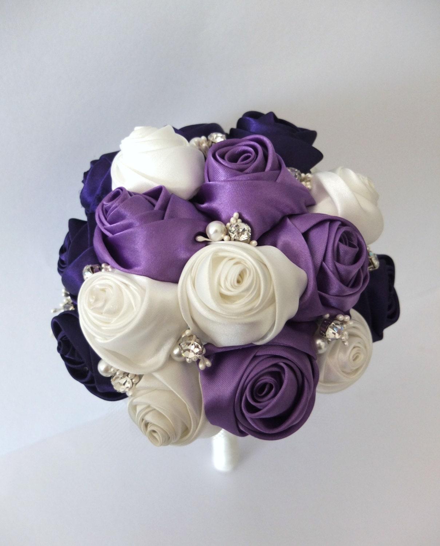 Satin Rose Bouquet Ribbon Rose bouquet Purple & Ivory