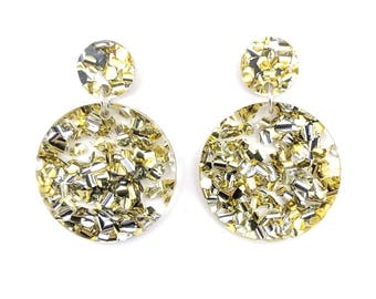 Chunky Silver-Gold Glitter Circle Earrings
