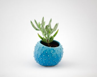 Small handmade ceramic succulent planter- turquoise- flower pot- planter for flowers- air planter